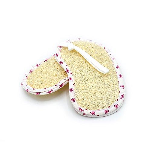 PPT luffa sponge - 100% pea shape exfoliating loofah scrubber pad body shower bath spa like envelope for insert soap close men women martin king shredded operculata (pack 2) (Shredded Soap)