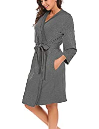 bfca40dd25 Women Robe Soft Kimono Robes Cotton Bathrobe Sleepwear Loungewear Short