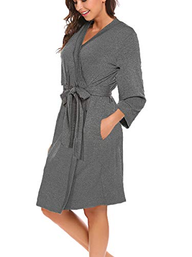 BLUETIME Women Robe Soft Kimono Robes Cotton Bathrobe Sleepwear Loungewear Short (XXL, Heather Grey)