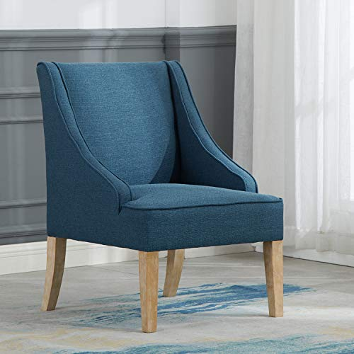 Kmax Fabric Accent Chair, Comfortable Living Room Leisure Chair, Upholstered Side Chair with Arm for Bedroom/Guest Room/Reception Office/Dorm/Patio, Teal Blue