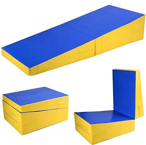 K&A Company Mat Folding Incline Ramp Wedge Tumbling Gymnastics Gym Cheese Large Playmat Kids Exercise Gymnastic Fitness Training Slope