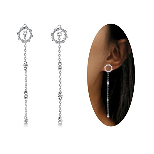 FarryDream CZ Circle Hypoallergenic Studs Earrings Chain for Women Fashion Threader Earrings