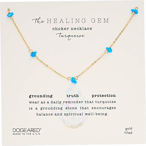 Dogeared Women's Healing Gem, Turquoise Choker Necklace Gold Plated One Size