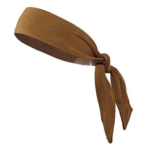 Headbands Tie on Headband for Women Men Running Athletic Hair Head Band Elastic Sports Sweat Basketball Sweatband Stetchy Yoga Workout Sweatbands Adjustable Non-Slip Moisture Wicking (Brown) -