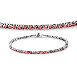 14K White Gold Round Cut Real Red Ruby Ladies Tennis Bracelet