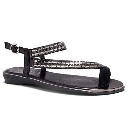 luto Rhinestone Bohemian Slip On Flip Flops Shoes Strap Gladiator Toe Loop Flat Sandals Black 9.0 ()