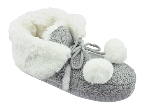 CL by Chinese Laundry Ladies Chinese Laundry Harper Pom Pom Plush & Knit Slipper Bootie Grey ERQOxVzgSG