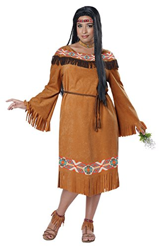 Maiden Indian Costume (California Costumes Women's Plus Size Classic Indian Maiden, Tan, 2X)