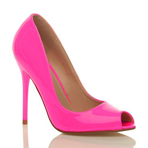 Ajvani Damen Hohen Absatz Arbeit Party Grund Peep Toe Schuhe Pumps Sandalen Größe Neon Fuchsienrosa Lack