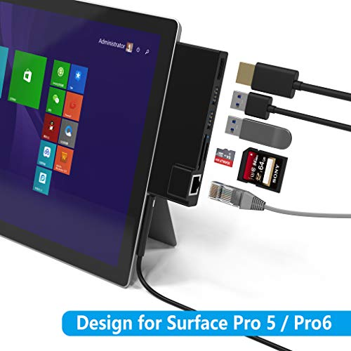KETAKY Microsoft Surface Pro 5 /Pro 6 USB 3.0 Hub Docking Station with Gigabit 1000Mbps Ethernet Port, 4K HDMI, 2 x USB 3.0 Ports, SD/Micro SD Card Reader for Surface Pro 2017/2018