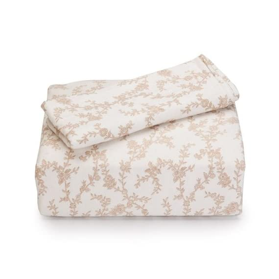 Laura Ashley Home | Victoria Collection | Premium Ultra Soft Lightweight 4 Piece Sheet Set, Wrinkle, Anti-Fade, Stain Resistant & Hypoallergenic, Queen, Beige - Queen set includes flat sheet, fitted sheet, 2 standard pillowcases 100-Percent cotton Fits 15-inch mattress - sheet-sets, bedroom-sheets-comforters, bedroom - 41rdoCeJrCL. SS570  -