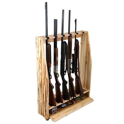 Rush Creek Creations Rustic 6 Gun Storage Rack with Accessory Compartment by Rush Creek Creations