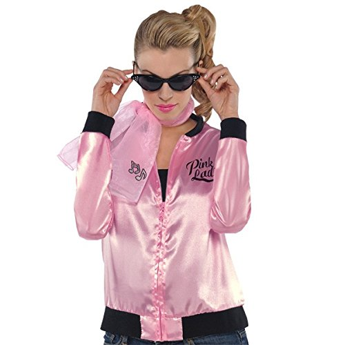 Fifties Greaser Costumes (Fabulous '50s Costume Party Ladies Jacket - Adult Standard, Pink, Polyester, 1-Piece)