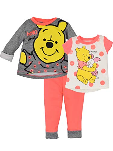 - Disney Winnie The Pooh Baby Girls' 3 Piece Long-Sleeve Fleece Top, Tee & Pant Set Pink