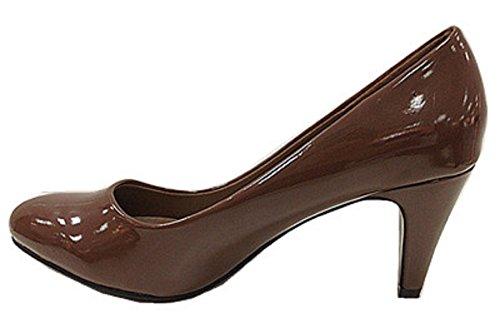 Mujeres zapatos zapatos negros talones barnizado C305Camel