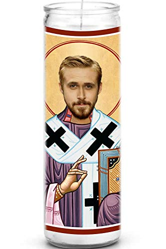 Ryan Gosling Celebrity Prayer Candle - Funny Saint Candle - 8 inch Glass Prayer Votive - 100% Handmade in USA - Novelty Celebrity Gift (Ryan Gosling)