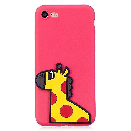 IPhone 8 iPhone 7 귀여운 케이스, Crazylemon 세련 된 연약한 TPU 실리콘 레드 케이스 기린 동물 모양의 패치 된 아이폰 8 아이폰 7 소프트 케이스 충격 흡수 전면 보호-손잡이 16 / iPhone 8 iPhone 7 Compatible Cute Case, Crazylemon Fashionab...
