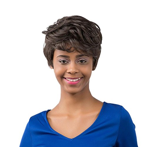 Ecurson Women Short Black Brown Front Curly Hair Wigs For Black Women (Jane Fonda Wigs)