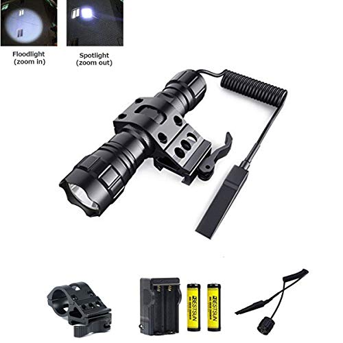 BESTSUN Tactical Flashlight 1200 Lumen Zoomable LED Hunting Light with Quick Release Offset Mount for AR15 Outdoor Hunting, Rechargeable Batteries and Remote Switch Included ()