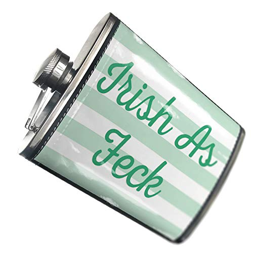 h As Feck St. Patrick's Day Simple Light Green Stripes Hip Flask PU Leather Stainless Steel Wrapped ()