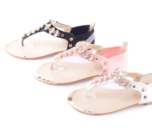 Damen Zehentrenner Sandalen Sandaletten mit Strass Pink