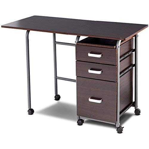 Tangkula Folding Computer Desk Wheeled Home Office Furniture with 3 Drawers Laptop Desk Writing Table Portable Dome Apartment Space Saving Compact Desk for Small Spaces (Brown)