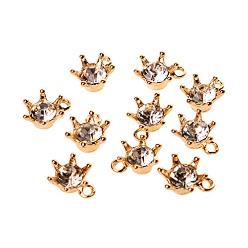 10pcs Wholesale Crystal Crown Charms Pendants Jewelry Findings Gold 12x15mm ()