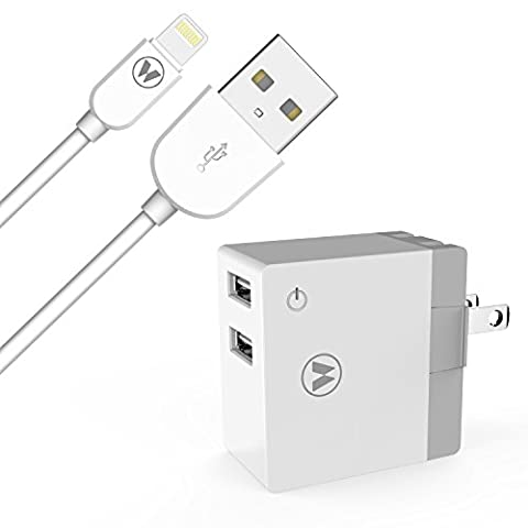 WUXIAN iPad Charger 5ft USB Sync and Charge Lightning Cable with 12W Power Adapter (2-Port, 2.4A output) for Ipad 4 Mini Air Pro & iPhone 7/6s/6/SE/5s - (Usb Power Adaptor Ipad)