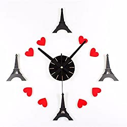 Wall clock household pendulum clocks Romantic French style Paris tower diy clock fashion creative self-adhesive decorative Mute
