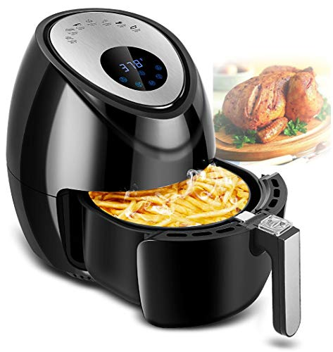 Digital Deep Air Fryer Cooker – 1500W Electric Hot Air Cooker with 7 Cooking Preset 3.8QT, Digital Touch Screen, Detachable Basket Dishwasher Safe, Recipes Included…