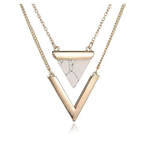 Geerier Golden Metal Chain Marble Stone Choker Necklace Set Chevron White Triangle (Necklaces & Pendants)