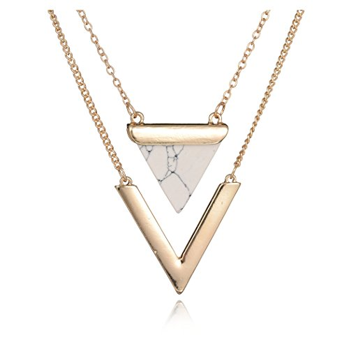 Geerier Golden Metal Chain Marble Stone Choker Necklace Set Chevron White Triangle
