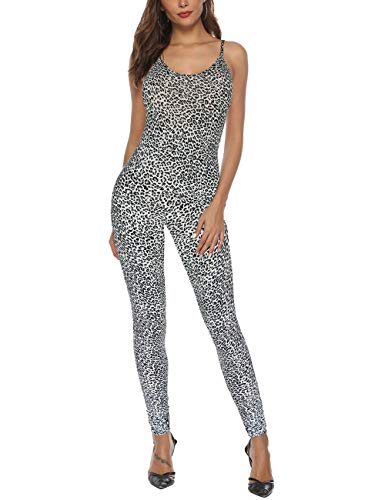 Amilia Womens Spaghetti Strap Bodycon Tank One Piece Jumpsuits Rompers Playsuit (XL, Leopard White) -