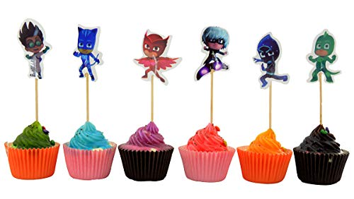 - PJ Mask Cupcake Toppers for Birthday Party Event Decor for 24 Cupcakes