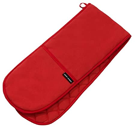 KITCHEN ACCESSORIES PLAIN RED (CHILLI PEPPER RED) COTTON BLEND DOUBLE OVEN  GLOVE