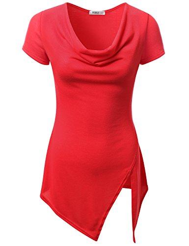 JJ Perfection Women's Asymmetrical Hem Short Sleeve Cowl Neck Draped Top RED M