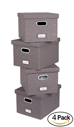Internet's Best Collapsible File Storage Organizer | Decorative Linen Filing & Storage Office Box | Letter Legal | Grey | 4 Pack