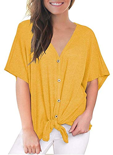 (Fronage Womens Loose Blouse Short Sleeve V Neck Button Down T Shirts Tie Front Knot Casual Tops (S, 08 Yellow))