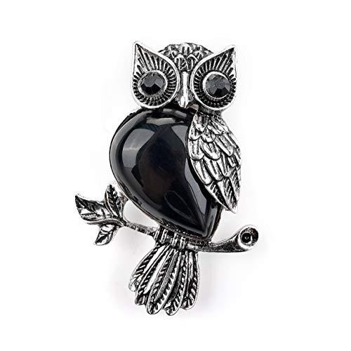 (Jovivi Vintage Crystal Rhinestone Natural Black Obsidian Leaf Cute Owl Bird Brooch Lapel Pins for Women Girls Wedding Bouquet)