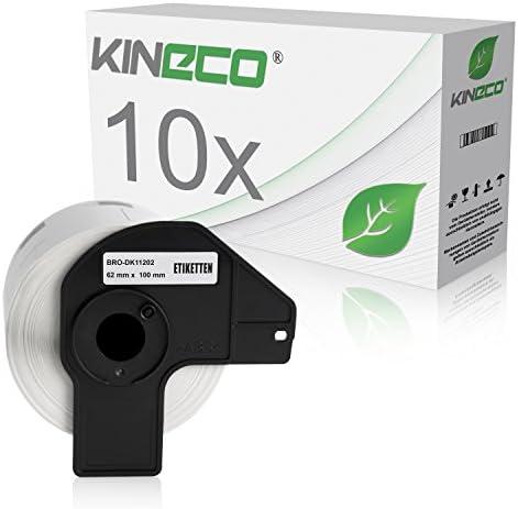 Kineco 10x Versand-Etiketten kompatibel für Brother DK11202 - je 300 Stück - 62mm x 100mm P-Touch QL-1050 1060N 500 550 560 570 580 700 500 A BS BW 560 VP YX 580N 650TD 710W 720NW - Weiss