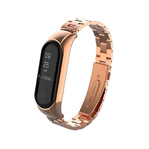 (Fullfun Stainless Wrist Belt Smartwatch Replacement for Xiaomi Mi Band 3 Waistband Metal Strap (Rose Gold))