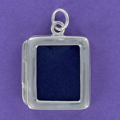 (Charm - Sterling Silver - Jewelry - Pendant - Rectangle Photo Frame 2-Sided Hinge)