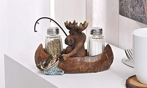 Giftcraft Moose Fishing in a Canoe Novelty Salt and Pepper Shaker Set