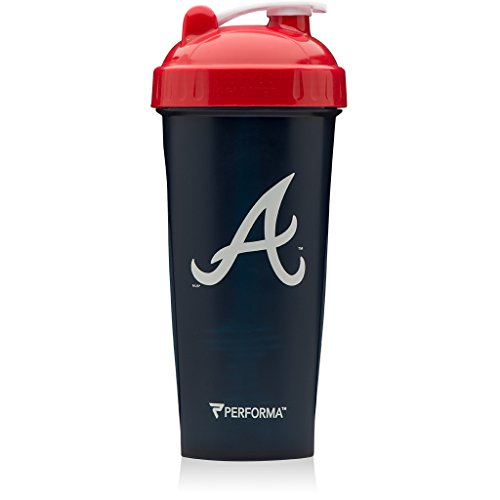 Performa Perfect Shaker - MLB Collection, Best Leak Free Bottle with Actionrod Mixing Technology for Your Sports & Fitness Needs! Dishwasher and Shatter Proof (Braves)