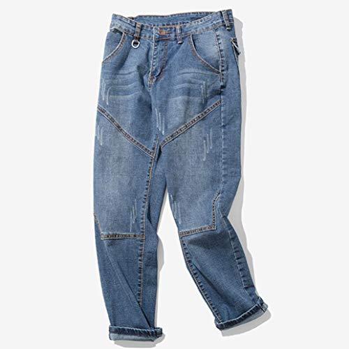 Alimao 2018 Men's Pants Casual Autumn Zipper Patchwork Denim Vintage Wash Hip Hop Trousers Jeans Pants by Alimao (Image #3)