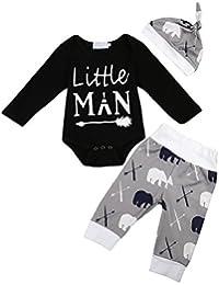 Newborn Baby Boys Little Man Bodysuit+Deer Bear Leggings...