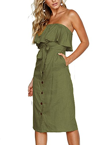 (Women Summer Strapless Ruffled Off Shoulder Solid Pleated Dresses Button Down Tie Waist Casual Midi Dress with Pockets)