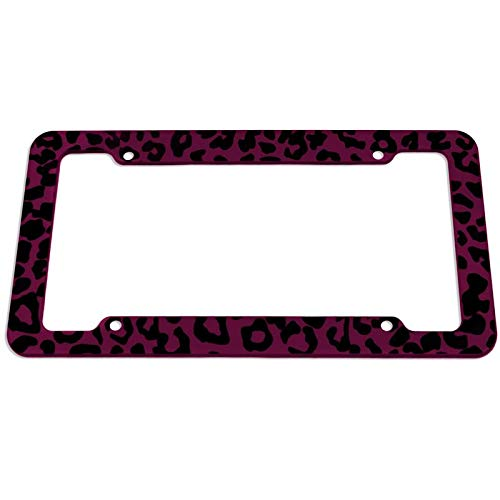 Motorup America Auto License Plate Frame Cover - Fits Select Vehicles Car Truck Van SUV - Wild Pink Leopard Print