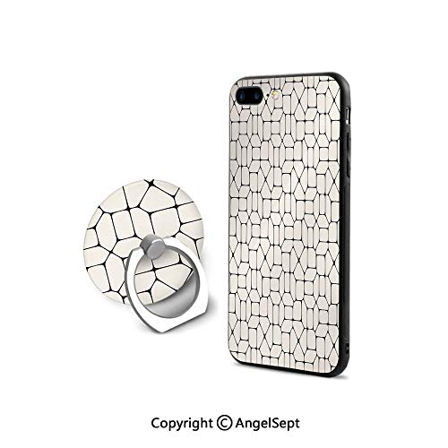 - Protective Case for iPhone 8/iPhone 7 with Ring Holder Kickstand,Black and White Mosaic Pavement Tile Bricks Modern Conceptual Tracery Design,Shockproof Protection,Black White