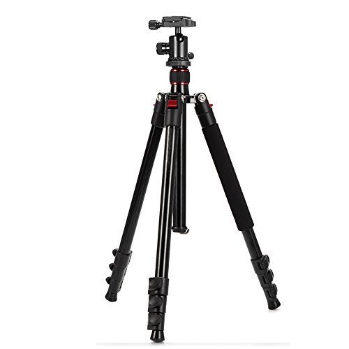 "Mcoplus 63"" Inch Professional Lightweiht protable Aluminium Alloy Camera Tripod With 360° Panorama Ball head+1/4″ Quick Shoe Plate+Bag for DSLR Camera/ Video Camcorder"